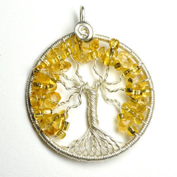 Tree of Life Pendant Small Wire Wrapped Citrine and Japanese Seed Beads Golden November Birthstone Pendant