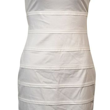 Calvin Klein Women's Pintucked Sleeveless Cotton Sheath Dress