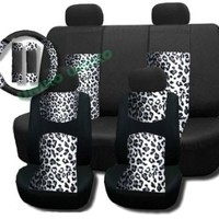 Supreme Mesh Safari Accent Seat Covers Gray Snow Leopard Thick Padded Comfort - Front & Rear Steering Wheel Seat Belt Covers