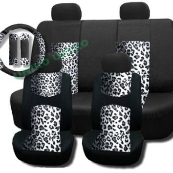 New and Exclusive Mesh Animal Print Accent Interior Set Gray Snow Leopard 11pc Seat Covers Front & Back Lowback, Back Bench, Steering Wheel & Seat Belt Covers - Padded Comfort