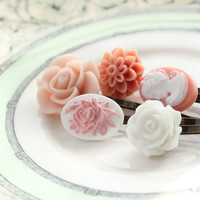 Flower Bobby Pins, Pink and White, Hair Flowers, Resin Flowers, Pastel Pink Hair Accessories, Pink Cameo, White Rose, Pink Rose