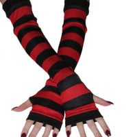 red and black striped silky arm warmers stripes stripe goth gothic alternative punk lolita industrial steampunk yoga jogging steampunk