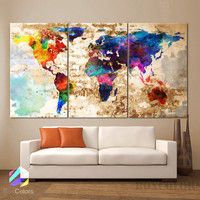 "LARGE 30""x60"" 3Panels Art Canvas Print Watercolor Texture Map decor (framed 1.5"" depth)"