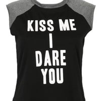 """KISS ME I DARE YOU"" Cropped Top"