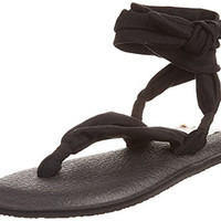 Sanuk Women's W Yoga Slinged Up Gladiator Sandal, Black, 5 M US