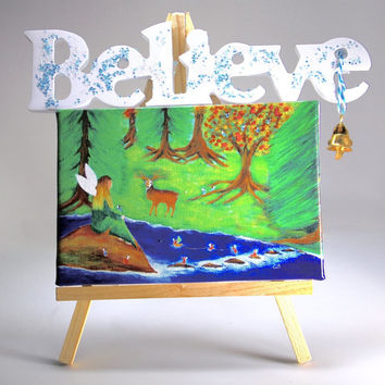 Mini Canvas Believe  Easel