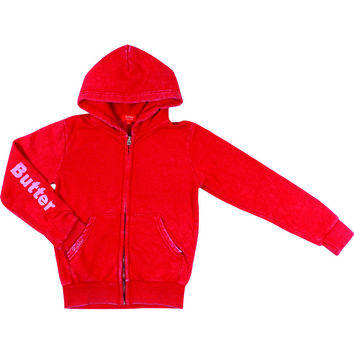 "Butter GIRLS ""BUTTER ROCKS"" BURNOUT ZIP HOODIE - Red"