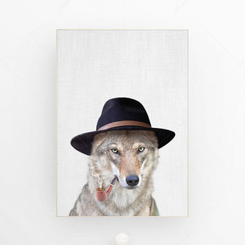Wolf art print woodland animal art print hipster art print nursery animal wall art decor wolf poster art print nursery decor art animal wolf