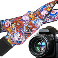 Sugar skulls camera strap with pocket. Skulls. Roses. Carps. Multicolor DSLR camera strap. Teens gift. Personalized camera strap.