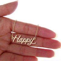 Name necklace personalized customized plated in gold--best present