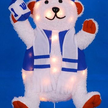"24"" Lighted Chenille Bear with Dreidel Outdoor Hanukkah Yard Art Decoration"