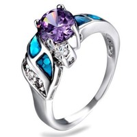 SNAZZY Amethyst Opal Clear Zirconia Silver Ring -- FREE Shipping