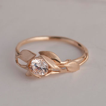 Leaves Engagement Ring No. 6 - 14K Rose Gold engagement ring, engagement ring, leaf ring, antique, art nouveau, vintage, diamond ring
