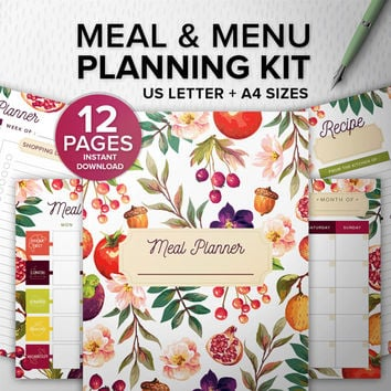 Meal and Menu Planning Kit 12 pages PDF - Printable meal planner - A4/Letter, Desk Manager INSTANT DOWNLOAD