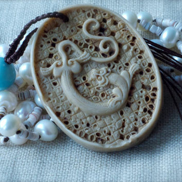 Chinese dragon pendant 108 beads Folk Mala inspired Carved Semi precious Pearls Beige Blue Brown Neutral Bohemian Hand Knotted Luxe Oriental