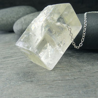 Raw Crystal Necklace Cubed Pendant Chakra Jewelry Yellow Calcite Chunky Nugget Rough Stone Contemporary Zen Sterling Silver Simple Chain