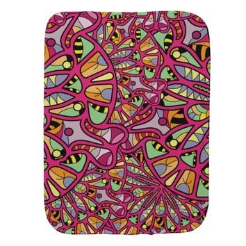 Kaleidoscopic Multicolored Abstract Pattern Baby Burp Cloth