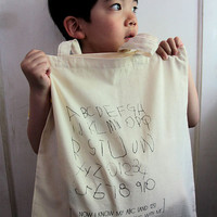 Cotton gift/tote bag - Quote Tote - Now I know my ABC and 123