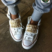Bandana Fever Custom Studded White Converse All-Star Chuck Taylor Hi Top Gold Various Studs Tongues