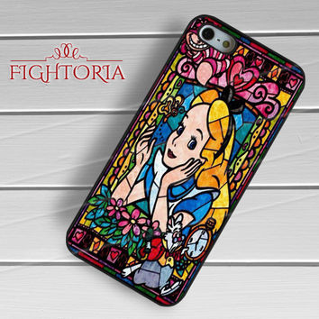 Alice in Wonderland Stained Glass - zzZzz for  iPhone 4/4S/5/5S/5C/6/6+s,Samsung S3/S4/S5/S6 Regular/S6 Edge,Samsung Note 3/4
