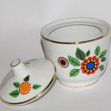 Vintage Sugar Bowl with lid / Hand Printed / Flowers / Folk / Polish Ceramic / Made in Poland / Tableware / Polish pottery / hand-crafted