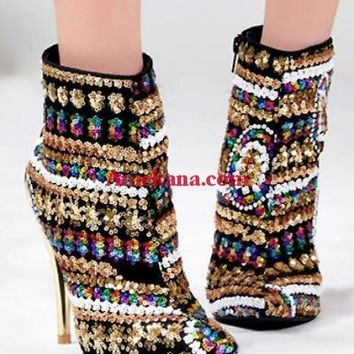 Betsy Gold Sequin Boots