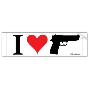 I Love Guns Bumper Sticker from Zazzle.com