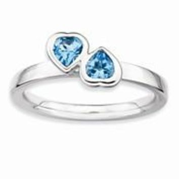 Sterling Silver Blue Topaz Double Heart Ring