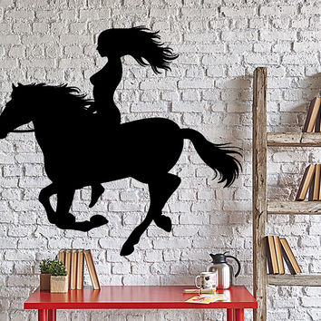 Wall Decal Girl And Horse Riding Romantic Home Interior Decor Unique Gift z4041