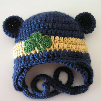 Baby hat for 12 months to 3T St. Patrick's Day shamrock or Notre Dame Irish colors - Choose one