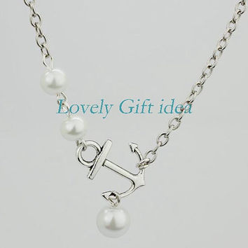 tiny anchor necklace 3 white pearl jewelry anchor with pearl,silver chain,maid of honor necklace wedding jewelry,Friendship gift birthday