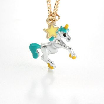 Enamel Unicorn Star Necklace