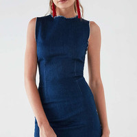 Six Crisp Days Vesta Frayed Denim Mini Dress | Urban Outfitters