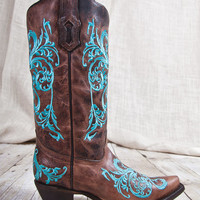 Corral Boots® Dahlia Turquoise Embroidery