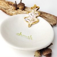 Cherish Oak Leaf Dish For Rings, Earrings or Candy White and Amber Porcelain Ceramic Lovely and Delicate MADE TO ORDER