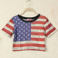American Flag Print Short Sleeve Cropped Tee