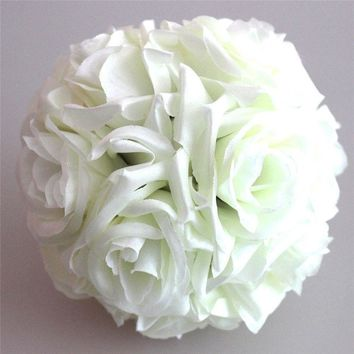 1Pcs 15cm Artificial Silk Flower Rose Kissing Balls Bouquet Centerpiece Pomander Party Wedding Centerpiece decorations