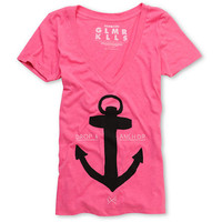 Glamour Kills Drop And Anchor Pink V-Neck Tee Shirt