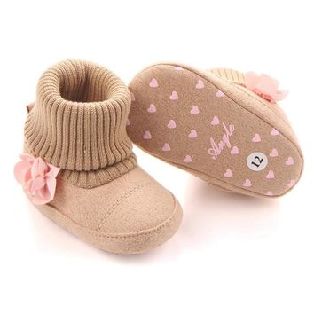 Winter Super Warm Boot With Pink Floral Baby Ankle Snow Boots Infant Crochet Knit Fleece Baby Shoes For Boys Girls