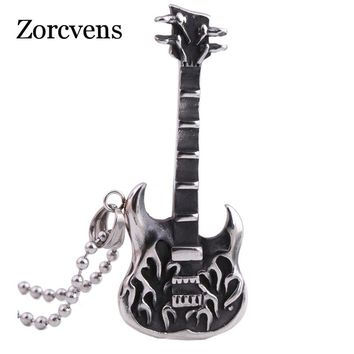 ZORCVENS Fashion Vintage Mens Jewelry Stainless steel Ball Chain Punk Rock guitar Pendant Necklace
