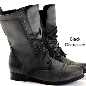 Womens Black Combat Style Boots