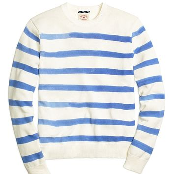 Men's Red Fleece Printed Stripe Crewneck Sweater
