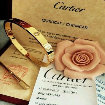 Authentic Cartier 18K Love Yellow Gold Bracelet 4 Daimonds Size 19@@@