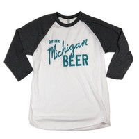 Drink Michigan Beer - Unisex 3/4 Sleeve Raglan