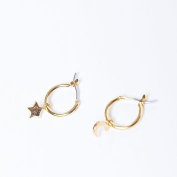 Star And Moon Mini Hoops Earrings