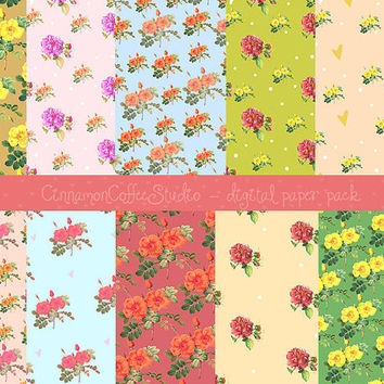 Vintage Rose Digital Papers, Rose Backgrounds, Retro Rose, Chabby Chic Digital Papers, Retro Rose Texture