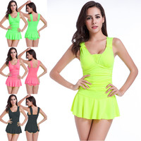 2015 summer conservative women swimsuits with skirt high waist bathing suits neon one piece swim suit maillot de bain