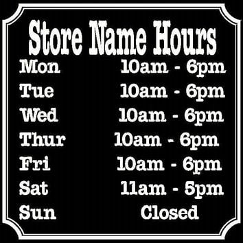Custom Business Name & Hours Window or Door Sticker Vinyl Decal with Border