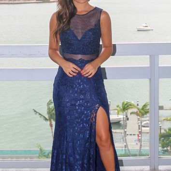 Navy Lace Maxi Dress with Mesh Detail and Side Slit