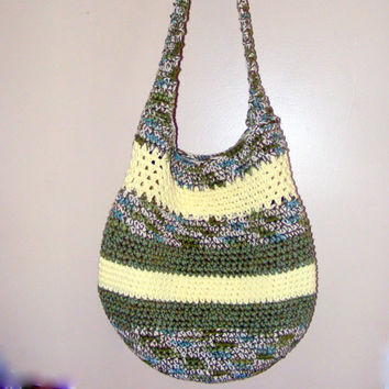 Large Beach Bag, Hobo Bag, Market Tote or Diaper Bag, One of a Kind Crocheted Cotton Tote